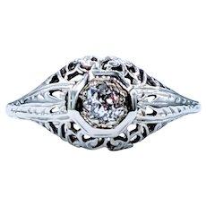 Antique 18K Mine Cut Diamond Ring