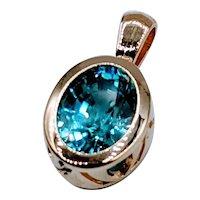 Vivid Natural Blue Zircon Pendant