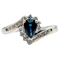 Classic Pear Shaped Sapphire and Diamond Ring