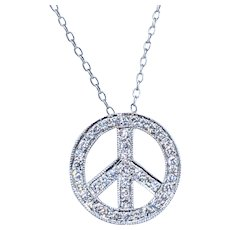 Flashing Diamond Peace Sign Pendant