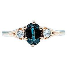 3-Stone Sapphire and Diamond Ring