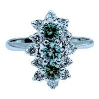 White & Green Diamond Cocktail Ring