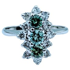 White & Green Diamond Cocktail Ring