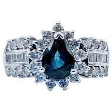 Gorgeous Pear Shape Sapphire & 1.50ctw Diamond Ring