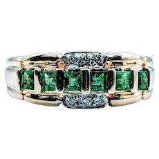 Vivid Natural Emerald and Diamond Ring