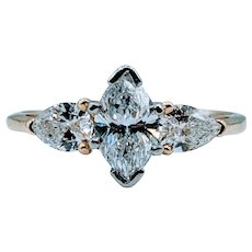 Gorgeous 1.00ctw Marquise and Pear Diamond Ring
