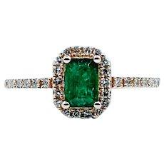 Verdant Green Natural Emerald & Diamond Ring
