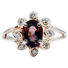 Oval Rose Toned Tourmaline & Diamond Ring