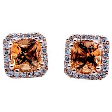 14kt Citrine & Diamond Halo Earrings