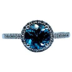 Bright Swiss Blue Diamond Halo Ring