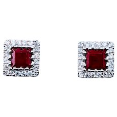 Sophisticated Ruby and Diamond Stud Earrings