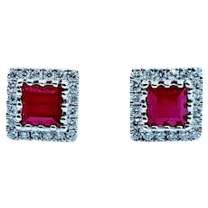 Brilliant Ruby and Diamond White Gold Earrings