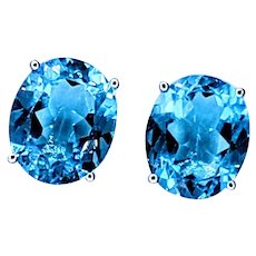 Ice Blue Topaz Solitaire Stud Earrings
