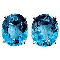 Large Blue Topaz Stud Earrings