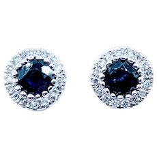 Gorgeous Sapphire & Diamond Halo Earrings