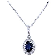 Beautiful Deep Blue Sapphire & Diamond Pendant Necklace