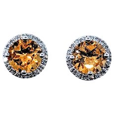 Bright and Cheerful Citrine and Diamond Earring Studs