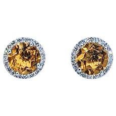 Sunshine Yellow Citrine & Diamond Halo Stud Earrings