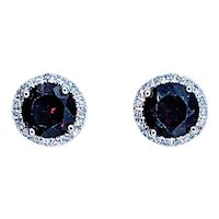 Classic Garnet & Diamond Halo Stud Earrings