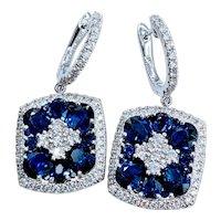 Stunning Sapphire and Diamond Dangle Earrings 18k