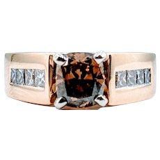 Stunning 1.15ct Cushion Cut Whiskey Diamond Ring