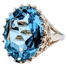 Big Bold Swiss Blue Topaz Vintage Ring