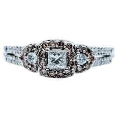 Beautiful White & Mocha Diamond Engagement Ring