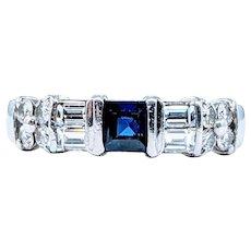 Stunning Modern Platinum, Sapphire & Diamond Ring