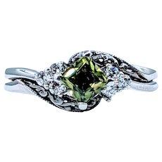 Rare Green Sapphire & Diamond Ring