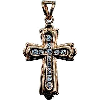 14kt Budded Diamond Cross Pendant