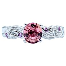 Beautiful Platinum Pink Tourmaline, Diamond & Pink Sapphire Ring