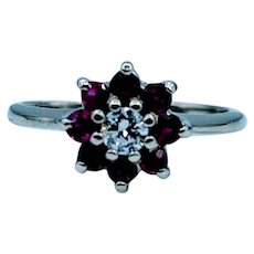 Unique Ruby & Diamond Flower Ring