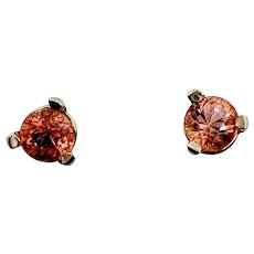 14kt .30ctw Orange Sapphire Earrings