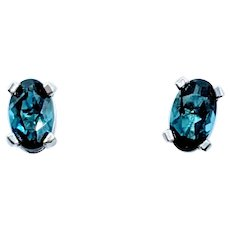 Blue-Green Tourmaline Stud Earrings