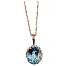 Beautiful Aquamarine & Diamond Halo Necklace