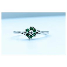 Floral Emerald and Diamond Ring