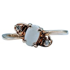 Dainty Opal & Diamond Ring