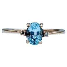 Dainty 7x5 Blue Topaz & Diamond Ring