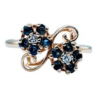 Double Bouquet Sapphire and Diamond Ring