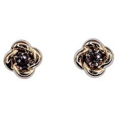 Retro Pink Sapphire & 14K Gold Stud Earrings