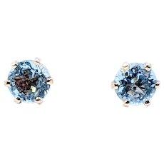 Bright Aquamarine Gemstone Stud Earrings