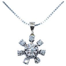 Sparkling Diamond Snowflake Pendant Necklace