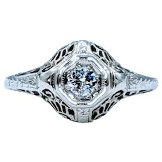 Timeless 18K Filigree Diamond Ring