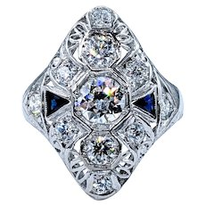 Extraordinary Art Deco Diamond & Sapphire Cocktail Ring