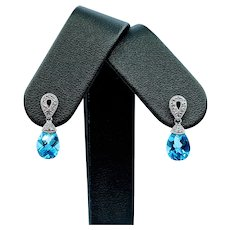 Gorgeous Blue Topaz & Diamond Drop Earrings
