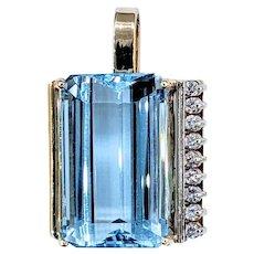 Huge Blue Topaz & Diamond Pendant - 14K Gold