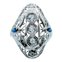 Antique Old European Cut Diamond & Sapphire 18k Ring