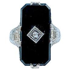 Antique Onyx & Diamond Ring