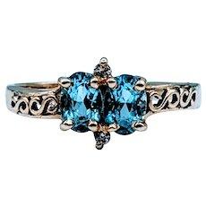 Unique Oval Topaz & Diamond Ring