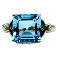 Large Vintage Blue Topaz Ring
